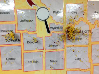 A map demonstrating everyone Harvesters services...